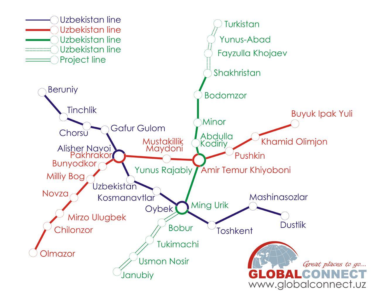 Tashkent Metro Map Tashkent Metro Stations
