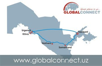 Itinerary map Tashkent-Urgench-Khiva-Bukhara-Samarkand